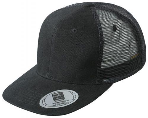 Hiphop cap zwart met platte klep en mesh