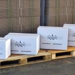 Transportdozen wit met merchandise logo
